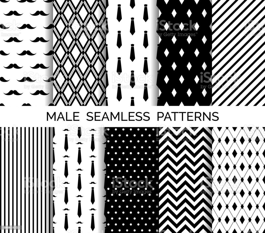 Set of printable vector male seamless patterns. Black and white backgrounds vector art illustration