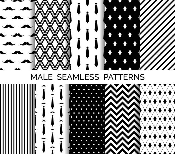 set of printable vector male seamless patterns. black and white backgrounds - tie stock illustrations, clip art, cartoons, & icons