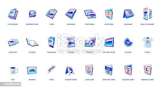 Set of vector printout icons consisting of brochure, business card and flyer, magazine with postcard. Other elements like poster, banner with rollup, sticker, mug, folder and other printing shop products. Promotion print advertising materials.