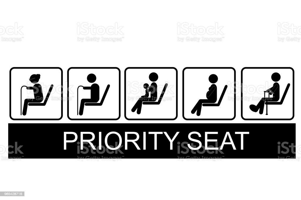 Set of Priority Seat set of priority seat - stockowe grafiki wektorowe i więcej obrazów autobus royalty-free