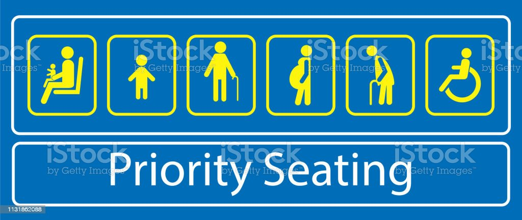 Set Of Priority Seating Sticker Or Label For Mass Rapid