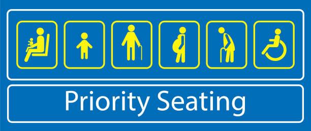 satz der prioritären sitzaufkleber oder des labels für den schnellverkehr - fahrzeugsitz stock-grafiken, -clipart, -cartoons und -symbole