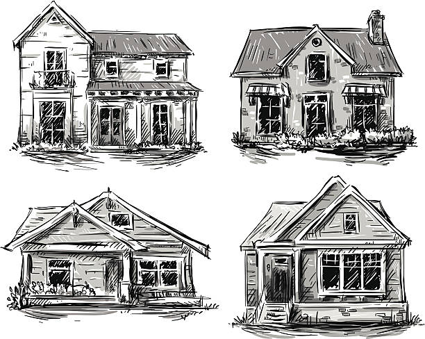 Set of private houses, hand drawn, vector illustration Set of private houses, hand drawn, vector illustration porch stock illustrations