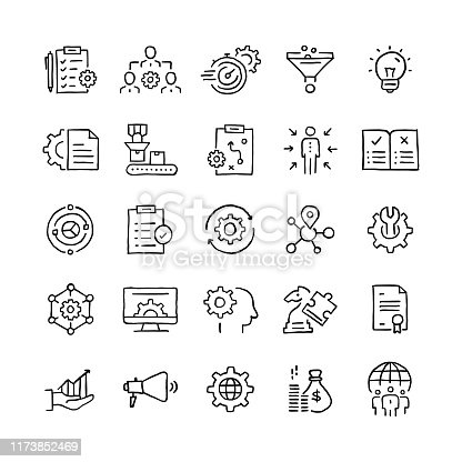 Set of Product Management related objects and elements. Hand drawn vector doodle illustration collection. Hand drawn icon set.