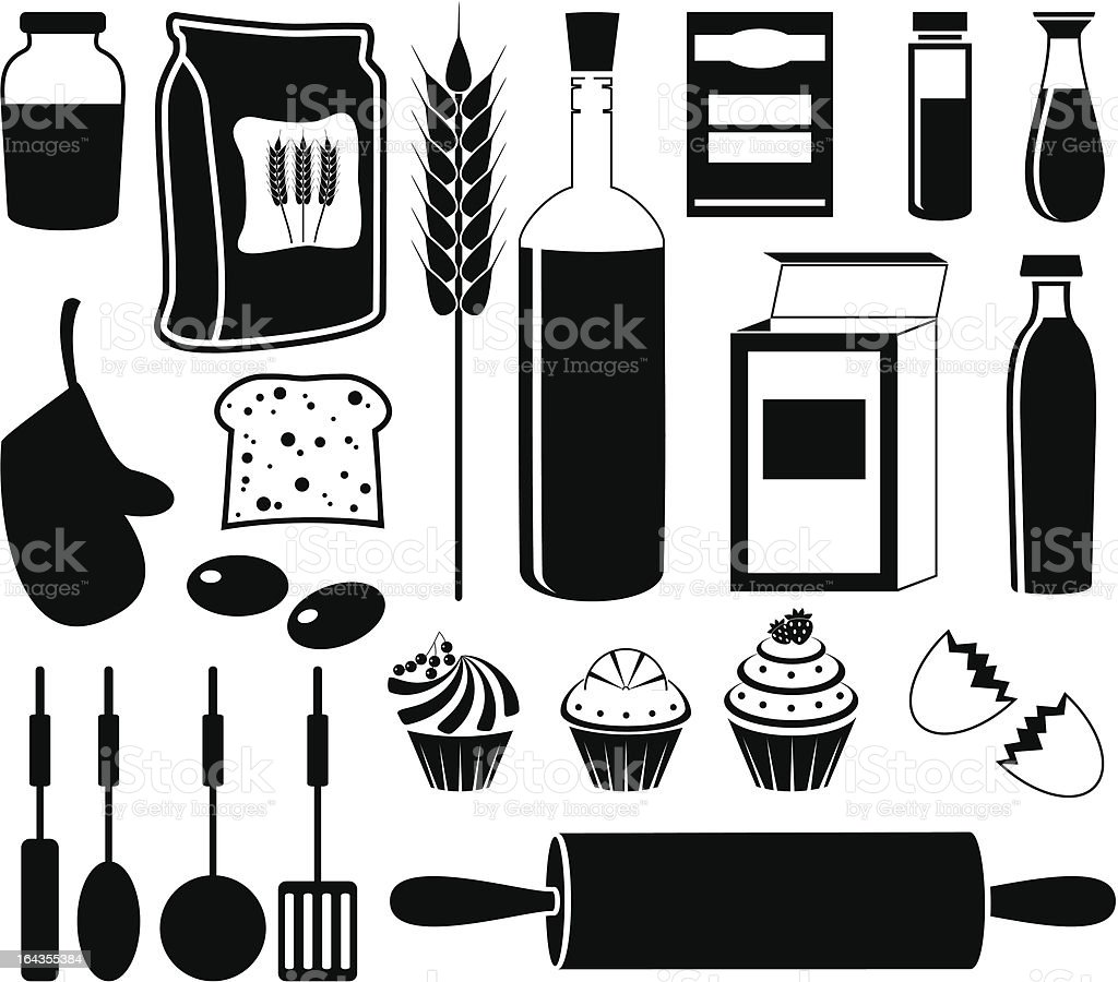Set of products for baking vector art illustration