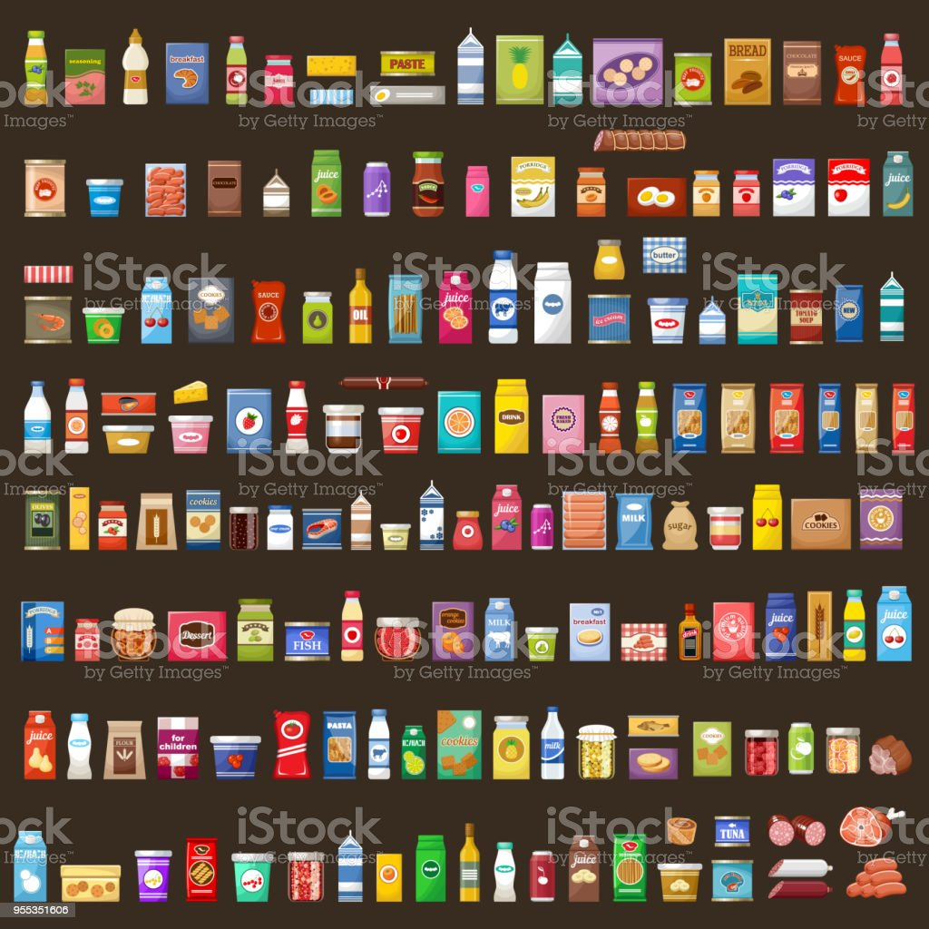 Set of products - Royalty-free Azeitona arte vetorial