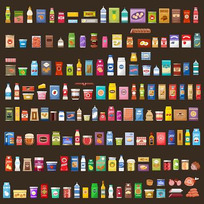 Set Of Products - Arte vetorial de stock e mais imagens de Azeitona