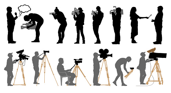 Set of professional people with video cameras and photo cameras. Silhouettes are separated. Vector illustration.