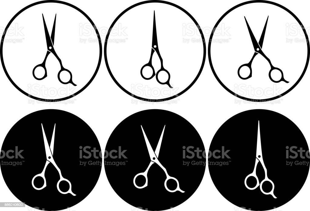 set of professional scissors in round frame vector art illustration