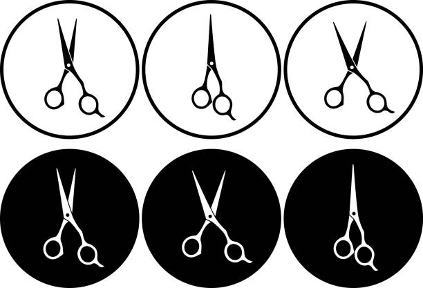 set of professional scissors in round frame set of isolated black and white professional scissors in round frame scissors stock illustrations