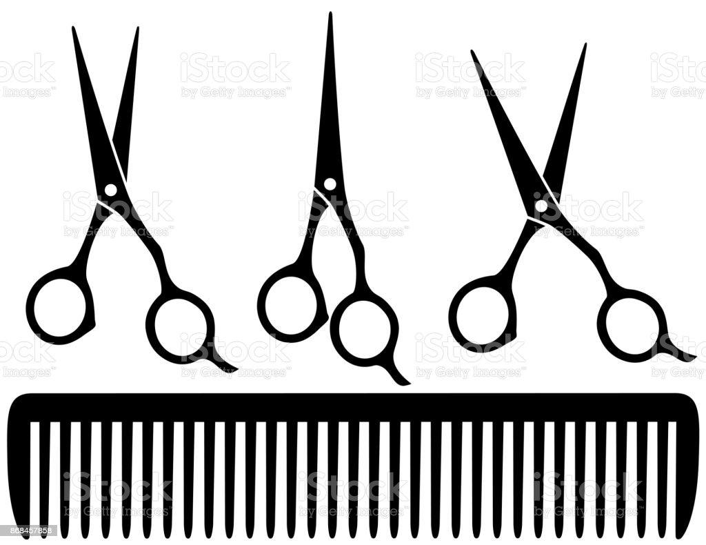set of professional scissors vector art illustration