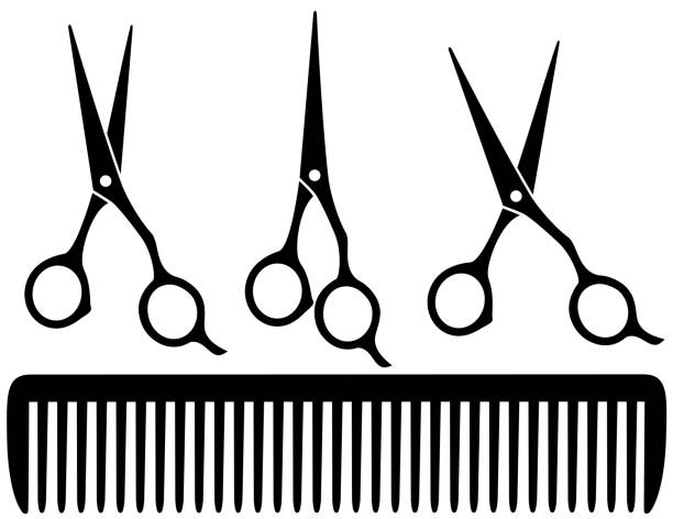set of professional scissors set of black professional scissors on white background and comb scissors stock illustrations