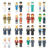 set of 24 professions for men and women. Health, staff, service, police and firefighters. People in work clothes. Flat vector professional cartoon illustration. Objects isolated on a white background.