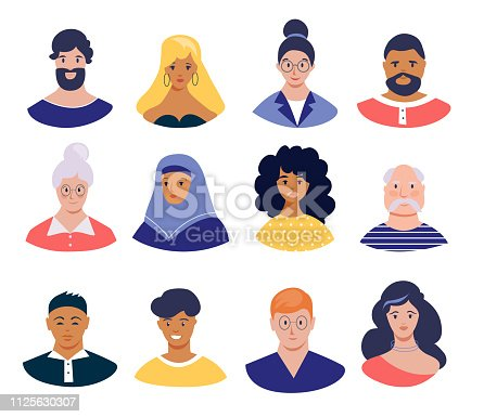 Set of profile pictures. Males and females, young, seniors people. Different nationalities, hair styles and clothes. Vector icons, flat design.