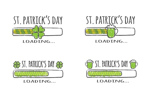 Set of progress bars with inscription - St. Patrick Day Loading collection in sketchy style. Vector illustration for t-shirt design, poster, card.