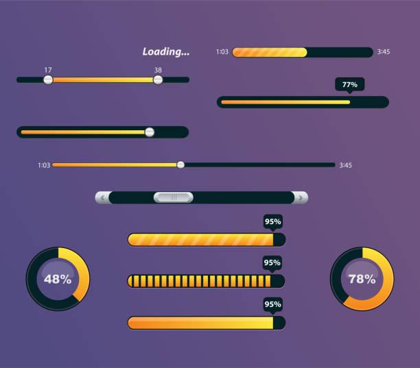 stockillustraties, clipart, cartoons en iconen met set van een voortgangsbalken met percentages - bar tapkast