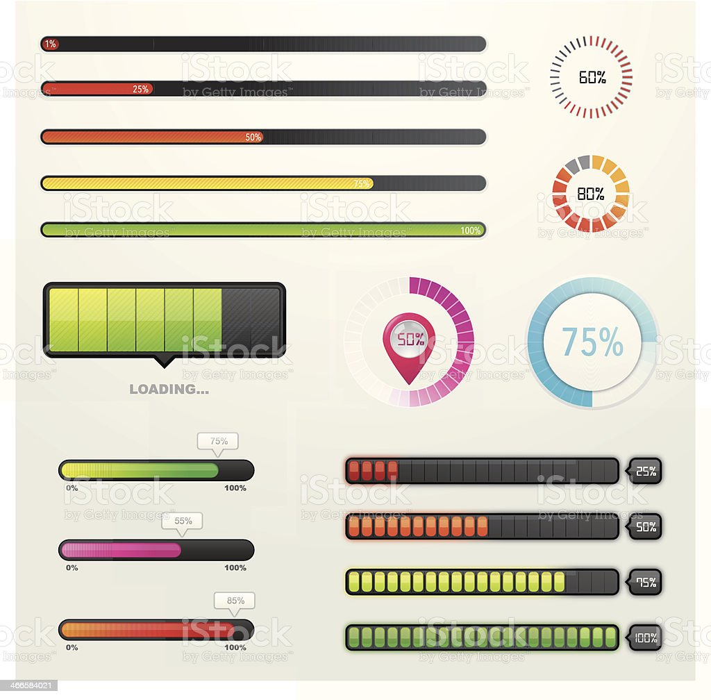 Set of progress loading bars vector art illustration