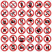 Set of prohibited sign isolated on white background