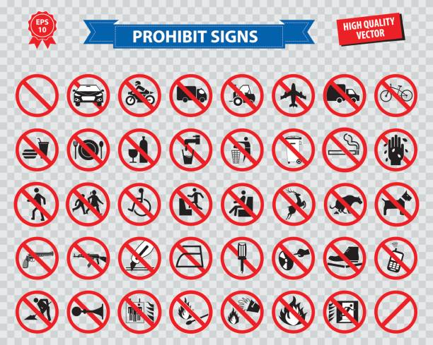 set of prohibited sign set of prohibited sign ( do not smoking, no drinking and eating, do not litter, no entry, no cellular phone, car prohibit sign, motorcycle prohibit sign, bicycle prohibit sign ) easy to modify dumpster fire stock illustrations
