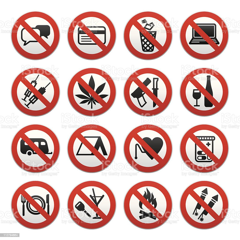 Set of Prohibited Signs royalty-free set of prohibited signs stock vector art & more images of alcohol