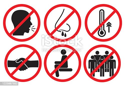 Set of prohibiting icons. No cough, no handshake, no runny nose, no fever, no crowds and no sit here.