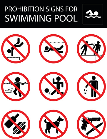 Set Of Prohibition Signs And Rules For Swimming Pool Stock ...