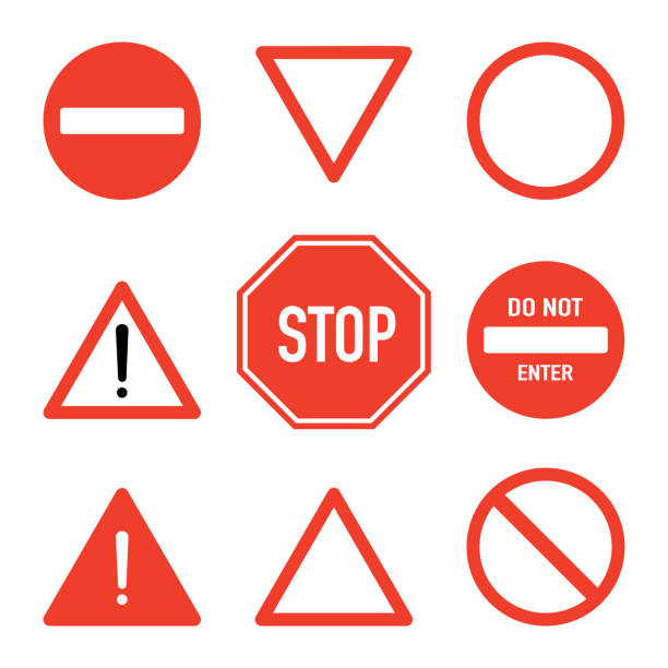 Set of prohibitory road stop signs, flat vector illustration isolated on white background. Traffic safety sign concept, different shapes and forms. Stop sign set, front view. Traffic warning signs. Red prohibitory traffic signs, many shapes and forms. stop stock illustrations