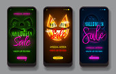 Set of promo banners for Halloween sale. Halloween greeting card with neon text for mobile app pages. Vector illustration with transparent ghosts. Seasonal discount promo ads for social media.