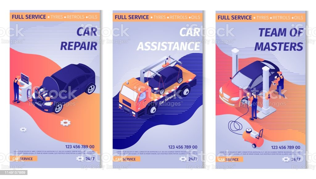 Set of Promo Vertical Posters for Car Service