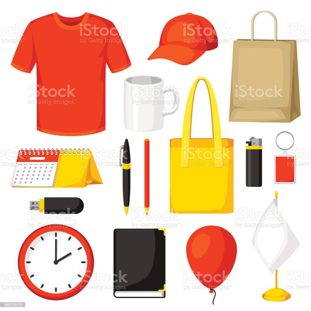 Set of promotional gifts and advertising souvenirs royalty-free set of promotional gifts and advertising souvenirs stock vector art & more images of adult