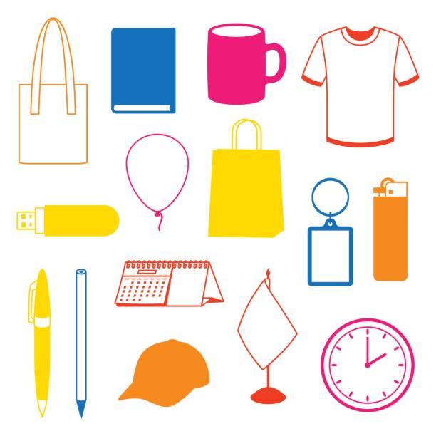 Satz von Werbegeschenken und Werbung souvenirs – Vektorgrafik