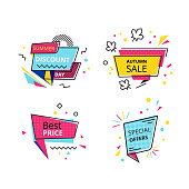 Set of promotional stickers, banners, discount labels. Summer discount day, autumn sale, best price, special offers, shopping, promotions. Special offers, mega discounts. Flat trendy geometric style.