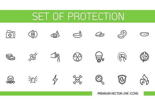 Set of Protection Line Icons