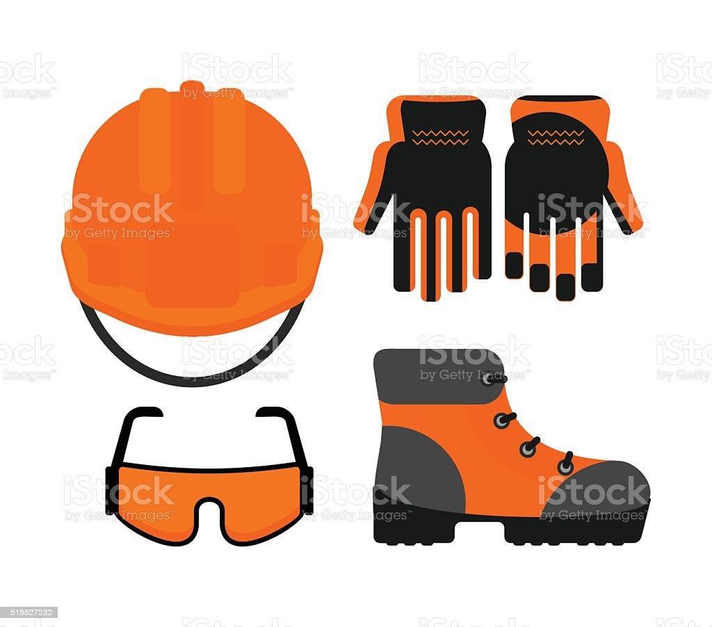 Set of protectiv work wear vector art illustration