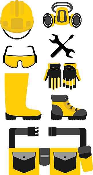ilustraciones, imágenes clip art, dibujos animados e iconos de stock de conjunto de equipo de protección - equipo de seguridad