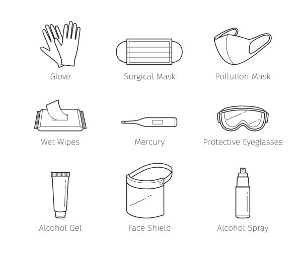 Set Of Protective Equipments For Coronavirus, Covid-19, Objects, Outline Icons, Protection Oneself From Disease Appliance, Accessories, Healthy protective workwear stock illustrations