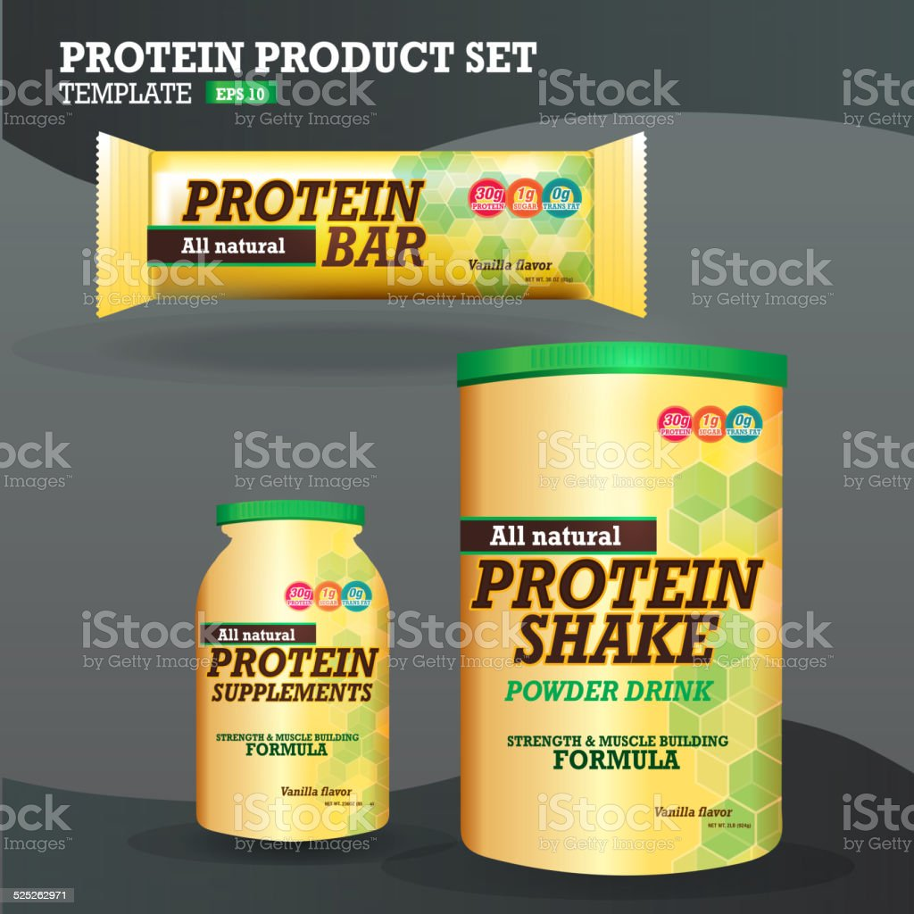 Set of protein supplements packaging designs yellow and green vector art illustration