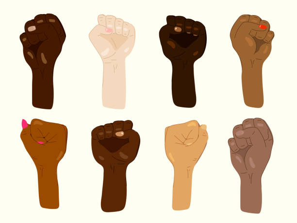 Set of protesting hands of mixed skin colors vector art illustration