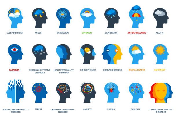 stockillustraties, clipart, cartoons en iconen met reeks psychologische problemen - psychische aandoening