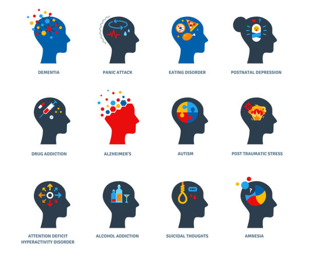 Set of psychology problems Set of psychological problems concept isolated on white background. Mental disorders, illnesses and psychiatry. Postnatal depression, autism and addictions flat icons. Psychology human head logo neurodegenerative disease stock illustrations