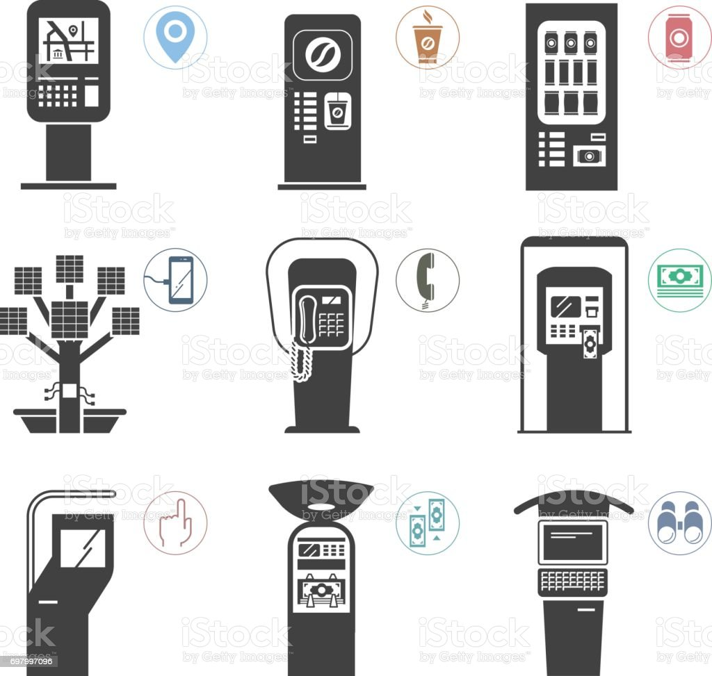 Set of public use self - service machines vector art illustration
