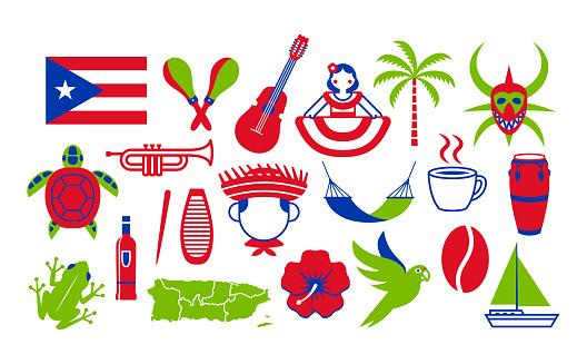 Set Of Puerto Rico Icons Isolated On White Background