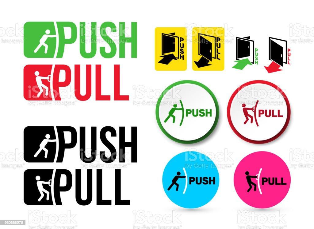 Set Of Pull Or Push Door Signs Handle To Open Doors Vector