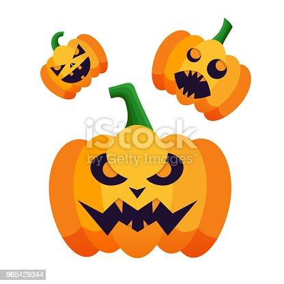 Set Of Pumpkins Silhouette Icons With Emotion Variation For Happy Halloween Vector Pumpkin Isolated On White Background For Halloween Party Poster - Stockowe grafiki wektorowe i więcej obrazów Abstrakcja 965429344