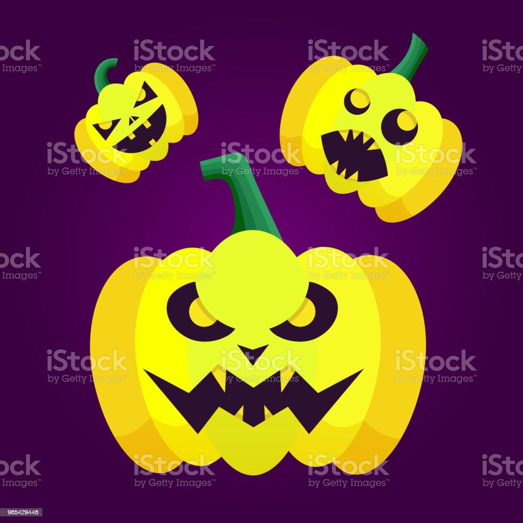 Ensemble d'icônes silhouette citrouilles variation de l'émotion pour halloween heureux. Fond sombre de vecteur citrouille pour affiche fête Halloween. - clipart vectoriel de Abstrait libre de droits