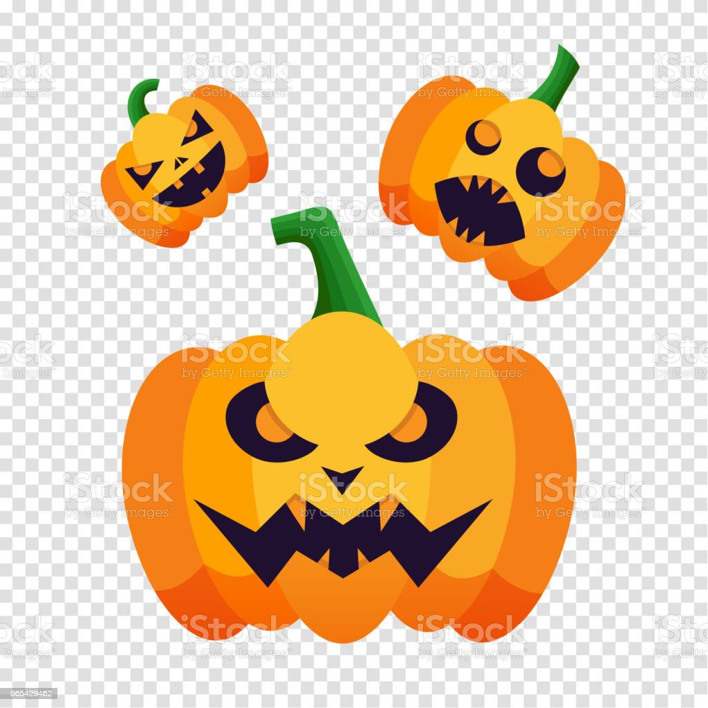Set of pumpkins silhouette icons with emotion variation for happy halloween. Vector pumpkin isolated on transparent background for Halloween party poster. royalty-free set of pumpkins silhouette icons with emotion variation for happy halloween vector pumpkin isolated on transparent background for halloween party poster stock vector art & more images of abstract
