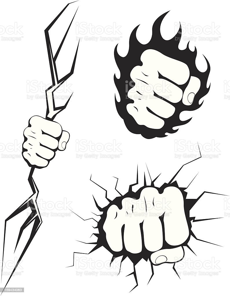 Set Of Punching Fists Graphics Stock Illustration Download Image Now Istock