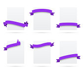 Set of 6 Purple ribbons on blank vertical white labels, isolated on a blank background. Elements for your design, with space for your text. Vector Illustration (EPS10, well layered and grouped). Easy to edit, manipulate, resize or colorize. Please do not hesitate to contact me if you have any questions, or need to customise the illustration. http://www.istockphoto.com/portfolio/bgblue