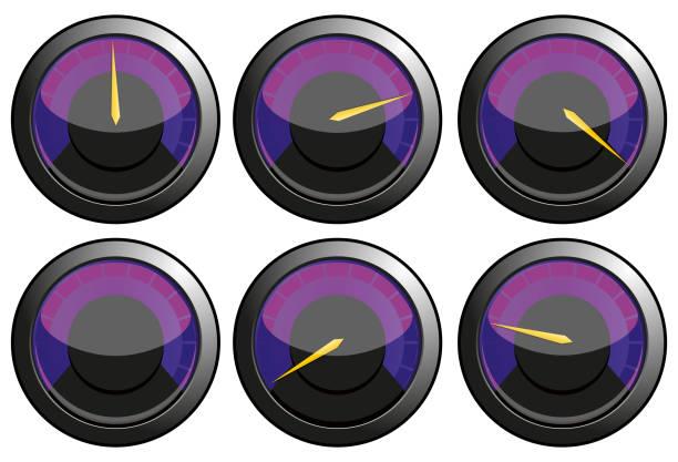 Set of purple speedometers vector art illustration