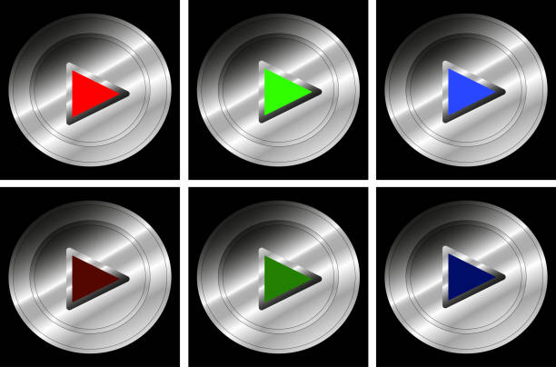 Set of push buttons for Play - Vector A set of push buttons for Play in red, green and blue colors for both on and off status - Vector blue silhouettes stock illustrations